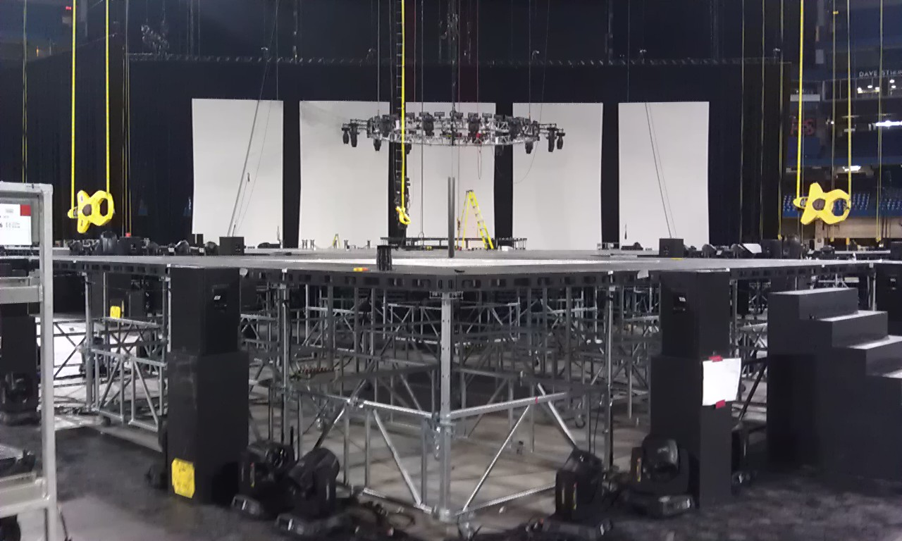 Setup of main stage for the Toronto 2015 Pan American Games